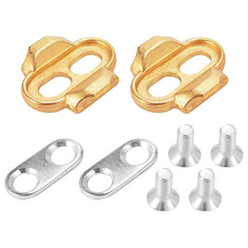 (Quaanti Bike Shoes Cleats Locking Plate MTB Lock Pedal Lock Riding Shoes Splint Set,Bicycle Premium Cleats Crank Brothers Egg Beater Candy Smar Acid Mallet Pedals,Bike Accessories (Gold Silver))