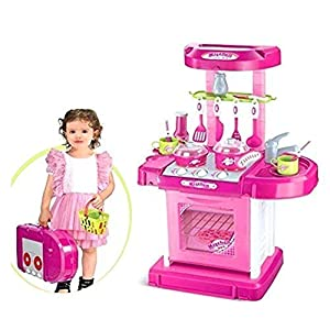 Popsugar Luxurious Kitchen Play Set with Accessories, Light and Music Toy for Kids, Pink