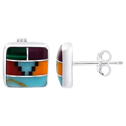 Gem Avenue 925 Sterling Silver Coral & Simulated Turquoise 8mm Stud Earrings for women
