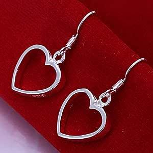 Amazon.com: 1Pair Womens 925 Silver Plated Big Heart
