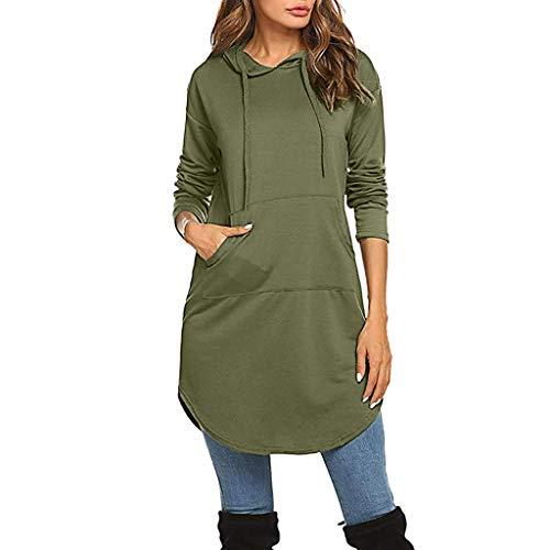 FarJing Women Tunics Loose Casual Tunic Sweatshirts Hoodie Pullover Tops with Kangaroo Pocket(XL,Green