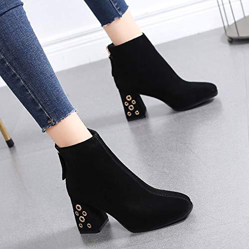 HRCxue Pumps Martin Stiefel Damen dick mit mattiertem Leder Damen Schuhe weibliche Spitze Mode High Heels Stiefeletten