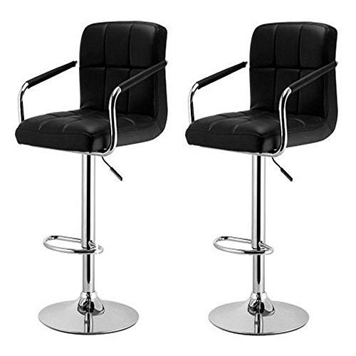 Yaheetech Bar Stools Set of 2 Black Adjustable Counter Stools Bar Chairs Synthetic Leather Modern Design Swivel Barstools Gas Lift Stools for Kitchen Counter 360 Degree Swivel Seat Top (Breakfast Black Bar Stools)