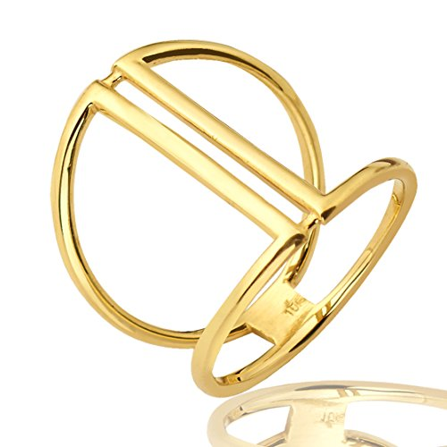 Mr. Bling 10K Yellow Gold Parallel Bars Geometric Design Ring, Available in Sizes 5-9 (6.5)