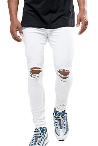 (MEIKESEN Men's White Slim Fit Cotton Stretch Destroyed Ripped Skinny Denim Jeans with Holes 28)