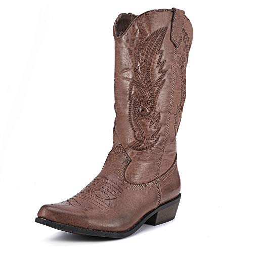 Mid Toe Boots Calf - Freemin Women's Western Cowboy Boots Mid Calf Pointed Toe Cowgirl Style Brown US 10