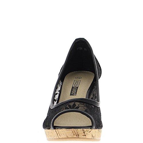 Zapatos de mujeres compensan tacón de 10cm de encaje negro abierto