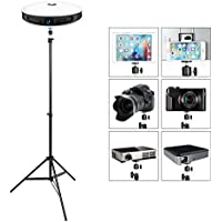 Portable Projector Stand with Tablet Phone Tripod Adapter,Lightweight Tripod Stand Adjustable Height 29.5 to 77 Anti-Slip 360° Swivel Ball Head for Camera,Webcam,GoPro,Photo Studio Light