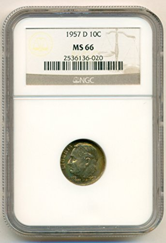 1957 D Roosevelt Color Toned Dime MS66 NGC