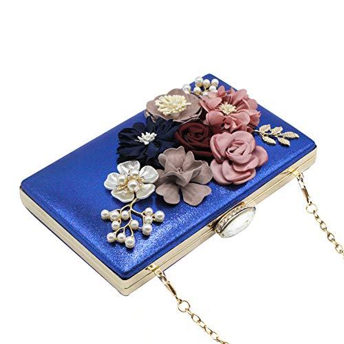 à Bleu nbsp;Femme Morehappy7 Bal du Perles à de avec Mariage Cocktail Sacs Taille Perles Main Bleu fête soirée Fleur Unique Main Sacs Sacs xHIqwIzdr