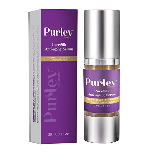 Purlev Skincare Pure Silk Anti Aging Face Serum 1 Oz With Vitamin C, Hyaluronic Acid & Tri-Peptide | Ageless Gel, Highly Absorbent & Rich | Erase Wrinkles & Fine Lines, (Acid Peptide)