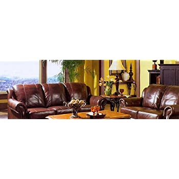 Amazon Com Princeton Tri Color Leather Sofa And Loveseat