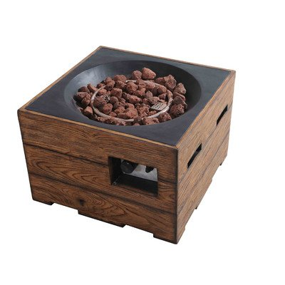 sunjoy Kent 24O Walnut Finish Faux Wood Liquid Propane Fire - White Propane Pit Fire