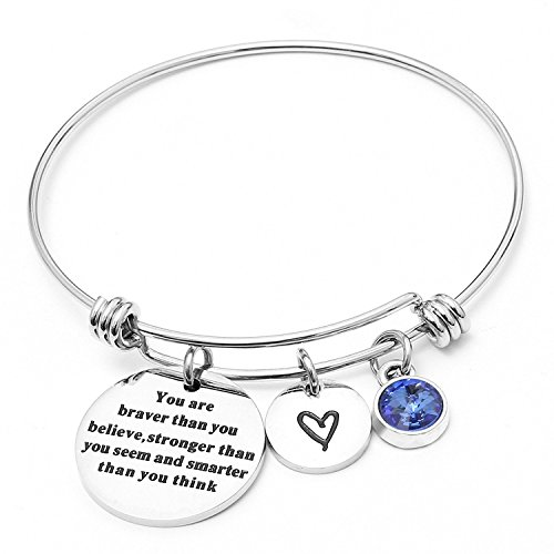 Angel's Draw Home You Are Braver than You Believe Adjustable Bangle Bracelets With 12 Months Color Birthstone for Women Girls Gift (Sapphire- September) by Angel's Draw Home