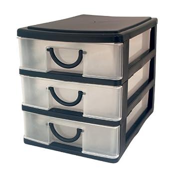 Guilty Gadgets ®   3 Drawer Storage Unit Plastic 3 Drawer Storage Box Unit  Trays Tidy