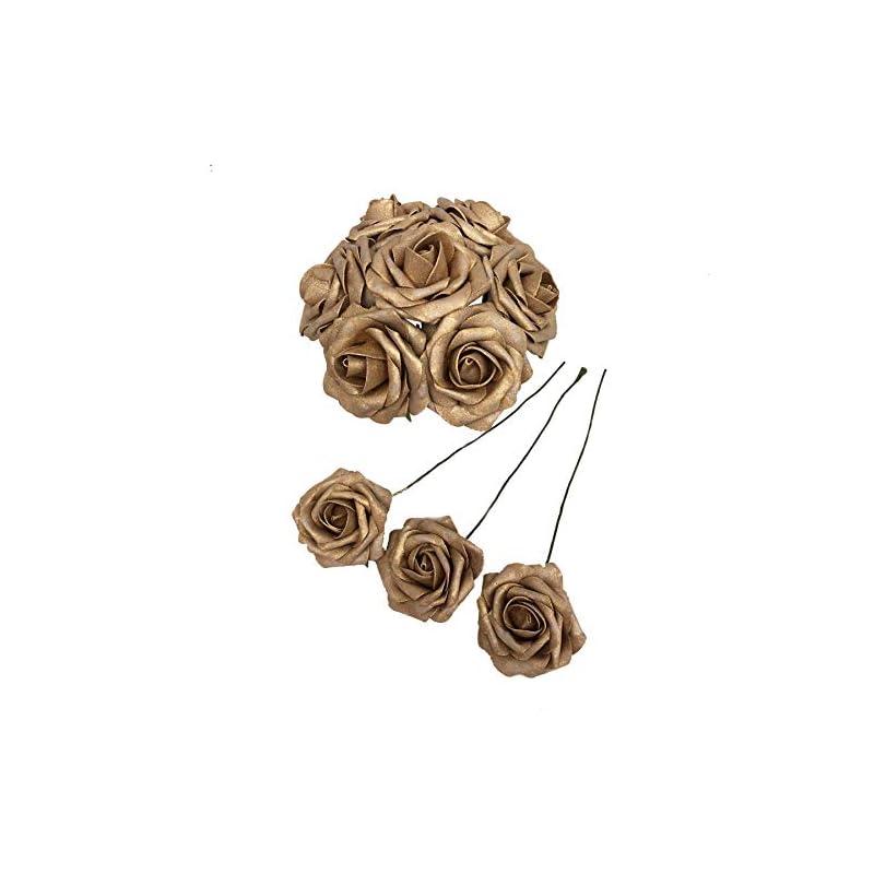 silk flower arrangements 50 pcs artificial flowers foam roses for bridal bouquets wedding centerpieces kissing balls (gold)