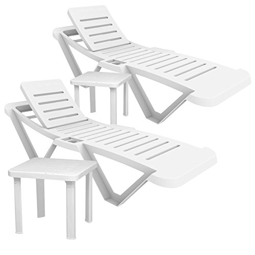 Resol Master Sun Plastic Sun Loungers & Resol Side Tables (Total Pack Size - 2 Loungers and 2 Tables) - UV Resistant, stylish and durable furniture for...