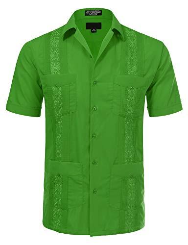 Mens Green Short Sleeve Shirt - JD Apparel Men's Short Sleeve Cuban Guayabera Shirts16-16.5N Large Green