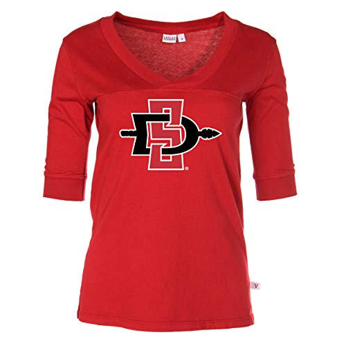 Official NCAA San Diego State Aztecs - Women's 3/4 Sleeve Football V-Neck Tee