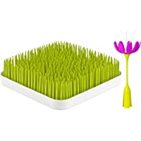 Boon Grass and Stem, Green + Magenta/White