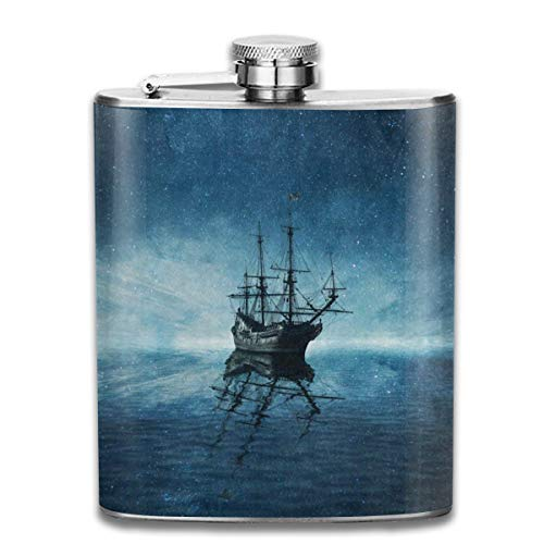 - Stainless Steel Flask Ghost Pirate Ship Starry Night Ocean Sea Whiskey Flask Vodka Portable Pocket Bottle Camping Wine Bottle 7oz Suitable For Men And Women