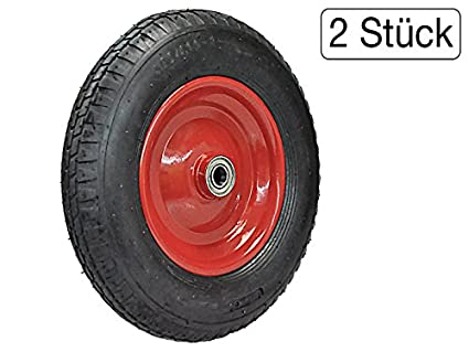 Juego de 2 ruedas para carretilla - Rueda para neumáticos 4.80/4.00 - 8 luftbereift en Llanta de acero: Amazon.es: Industria, empresas y ciencia