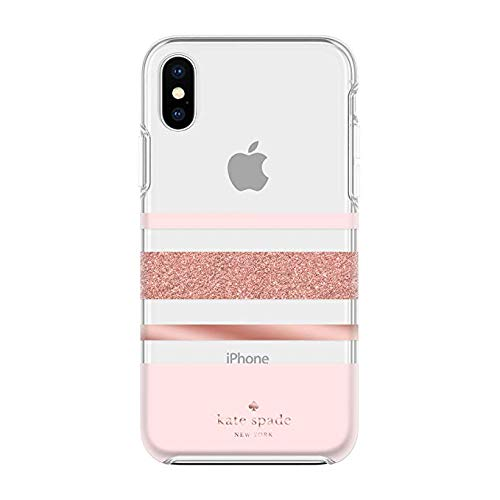 Kate Spade New York Phone Case | for iPhone 8 Plus / 7 Plus / 6s Plus / 6 Plus | Charlotte Stripe Rose Gold Glitter/Blush/Rose Gold/Clear