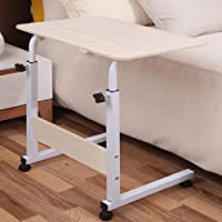 Tarkan Classico Bedside Portable Table Cart Tray with Adjustable Height, Studying Overbed Breakfast Sofa Table (Beige)