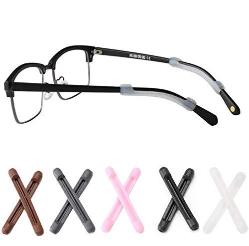 DNHCLL 5Pairs Soft Silicone Eyeglass Ear Cushions Temple Tips Eyeglass Pads Anti Slip Glasses Ear Hook Comfort Sport Ear Grips,Eyeglasses Leg Antiskid Cover for Reading Glasses, Sunglasses
