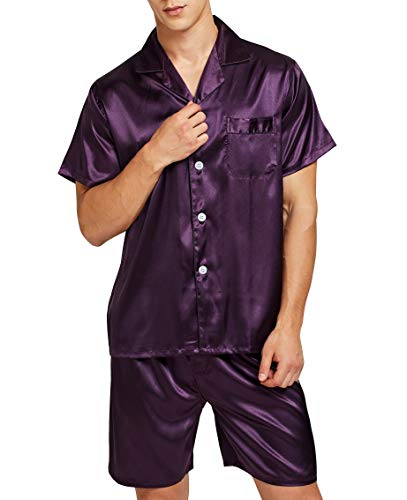 (Men's Satin Pajamas Short Button-Down Pj Set Sleepwear Loungewear (Purple, XL))