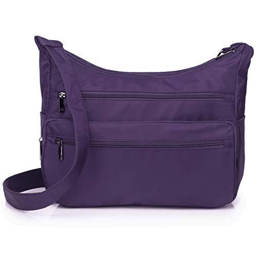 Crossbody Bag for Women Waterproof Messenger Shoulder Bag Casual Nylon Purse Handbag Multi Pocket Lightweight Travel Bag