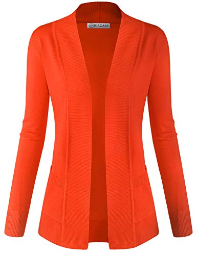 BIADANI Women Classic Soft Long Sleeve Open Front Cardigan Sweater Orange Large