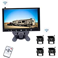Camecho Vehicle Backup System 9 inch HD Monitor & 4 Wireless Rear Cameras 18 IR Night Vision Waterproof Built-in Wireless Signal Chips for Trailer/Truck/RV/Caravan/Motor Home/5th Wheels