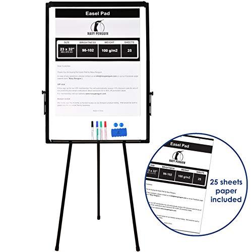 Conference Easel - Whiteboard Easel/Flipchart Set - Tripod White Dry Erase Board 40 x 28