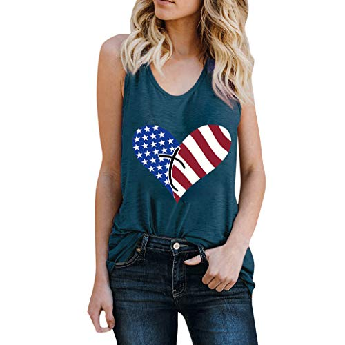 - 4th of July❤️Women's Fitted V-Neck T-Shirt Casual Round Neck Blouse American Heart Flag USA Patriotic Blue