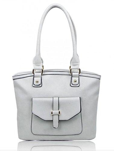 LeahWard Frauen weiche leichte Schulter Handtaschen Qualität Faux Leder Handtaschen für Frauen Für die Schule CW14106 (Perle Schultertasche) Aschgrau Fronttasche Umhängetasche GRmHolSzO
