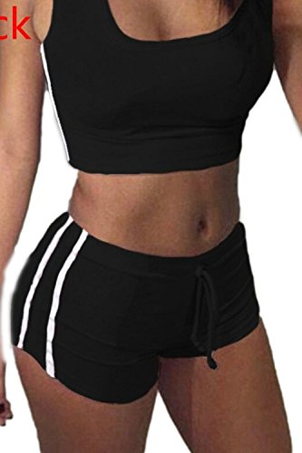 Juegos de los deportes Simple de la mujer (pantalones sujetadores + cortos) Black