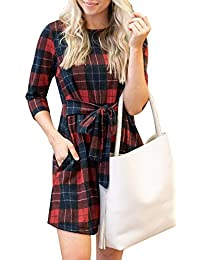 Women's 3/4 Sleeve Slim Fit Stretchy Belted Plaid Swing Dress with Pockets
