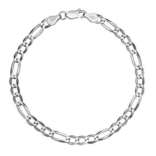 Solid 925 Sterling Silver Men's Italian 5mm Figaro Link Chain Bracelet - 9