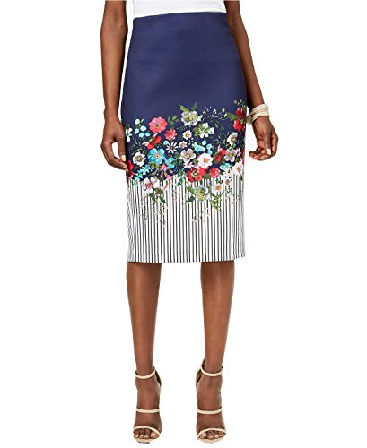 Eci Printed Midi Pencil Skirt (XL, Navy Multi)