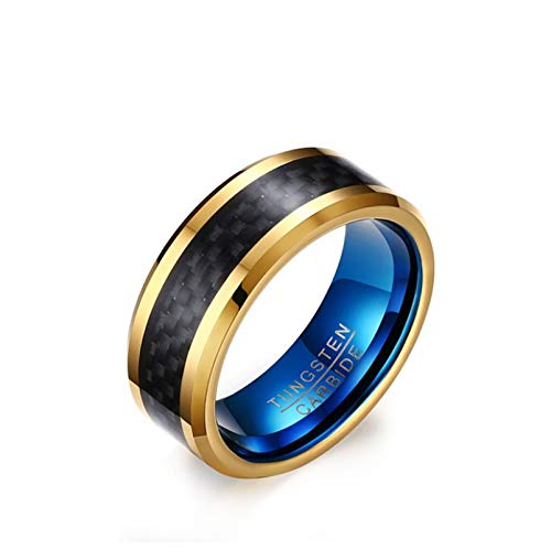 KnSam Tri-Colored Tungsten Ring Carbon Fiber Inlaid for Male Promise Engagement Blue Gold Size ()