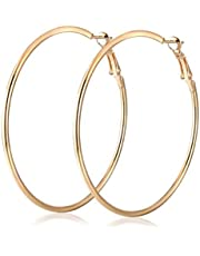 Hoop Earrings Big Size 60mm for Women Gold Plated Classic Round Silver Gold Circle Women Jewelry Accessory Punk Accessories