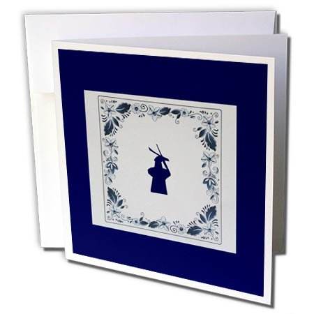 3dRose Kultjers Fun - Delft Blue Tile Windmill - 12 Greeting Cards with envelopes (gc_282735_2)