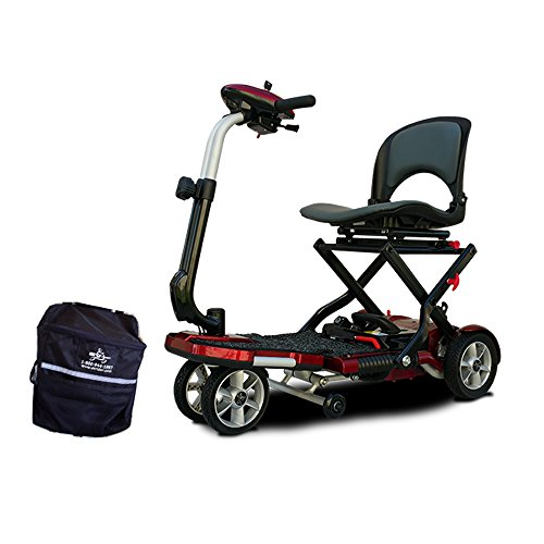 EV Rider TranSport Plus AF, Automatic Folding Mobility Scooter w/Remote, Lithium Battery, (Red) Bundled w/Outdoors Equipments 1-Year Extended Warranty and Bonus Tiller Bag ()