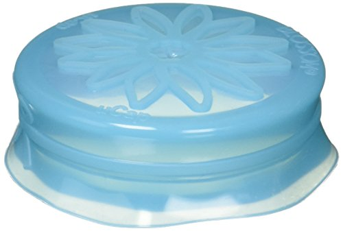 Blossom Mason and Canning Jar Sipping and Drinking Lid Caps, Silicone, For Standard Size Mason Jars, 3.5-Inches; Blue; Set of 4