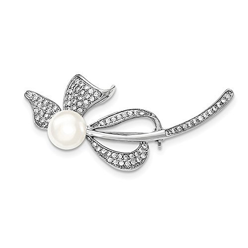 Sterling Silver 9-10mm White Freshwater Cultured Pearl Synthetic CZ Bow (Sterling Bow Pin)