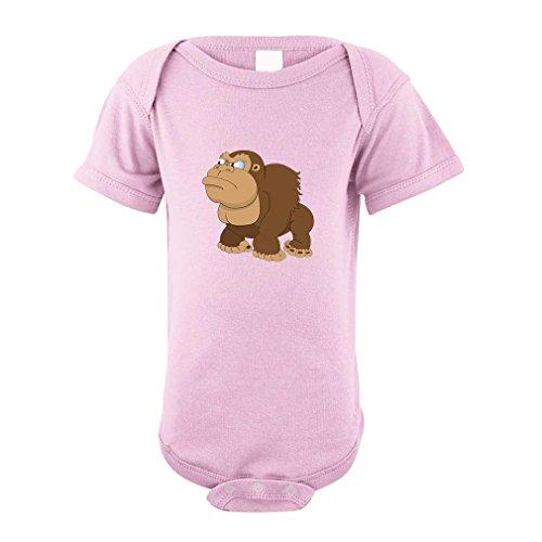 [Gorilla Angry Animals 100% Cotton Baby Bodysuit One Piece Soft Pink 6 Months] (Pink Gorilla Suit)