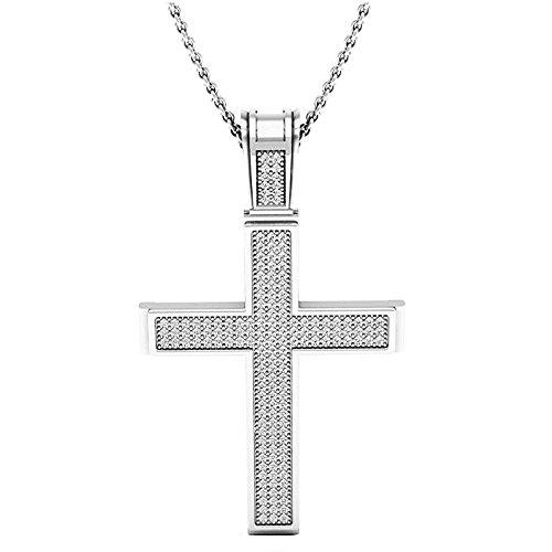 Dazzlingrock Collection 0.45 Carat (ctw) 14K Round Diamond Men's Religious Cross Pendant 1/2 CT (Silver Chain Included), White Gold