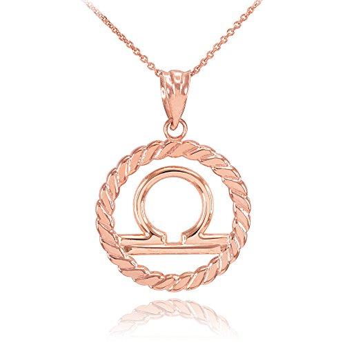 Collier Femme Pendentif 14 Ct Or Rose Balance Zodiaque Signe À Cercle Corde (Livré avec une 45cm Chaîne)