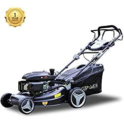 I-Choice 161cc 21 Inch 3-in-1 Gas Self-Propelled Lawnmower High Rear Wheel Drive Gasoline Push Mower with OHV Engine, Deck, Recoil Start System, Side Discharge, Mulching, Rear Bag